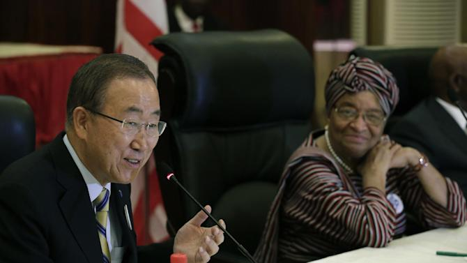 "In this photo released by the United Nations, U.N. Secretary-General Ban Ki-moon, left, meets with Liberia's President Ellen Johnson Sirleaf, at the Ministry of Foreign Affairs, in Monrovia, Liberia, on Friday, Dec. 19, 2014. Ban praised health workers battling Ebola in Sierra Leone and Liberia on Friday, saying they have shown ""the most noble face of humankind"" amid an epidemic that has killed more than 6,900 people in West Africa. Ban, who made stops in both countries on Friday, travels Saturday to Guinea where the Ebola virus first emerged a year ago.  (AP Photo/United Nations, Evan Schneider)"