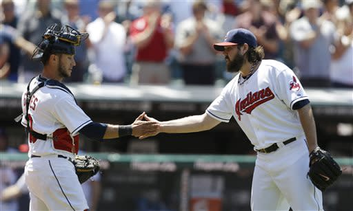 Salazar wins debut as Indians down Jays 4-2
