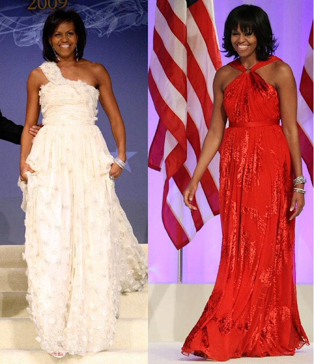This combo image shows first lady Michelle Obama as she arrives at the Inaugural Ball in Washington on Jan. 21, 2009, left, and Jan. 21, 2013, right. Michelle Obama made it a fashion tradition Monday