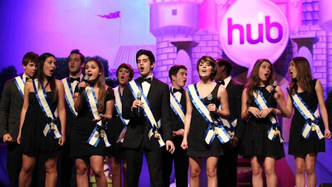 """The SoCal VoCals perform during The Hub TV Network's """"My Little Pony Friendship is Magic"""" Coronation Concert at the Brentwood Theatre on Saturday, Feb. 9, 2013, in Los Angeles in support of Children's Hospital LA. (Photo by Matt Sayles/Invision for The Hub/AP Images)"""