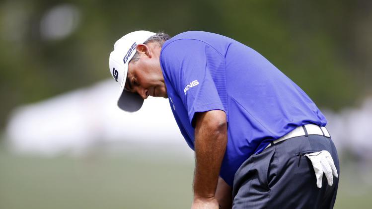 Angel Cabrera putts on the third green during the second round of the Houston Open golf tournament on Friday, March 29, 2013, in Humble, Texas. (AP Photo/Jon Eilts)