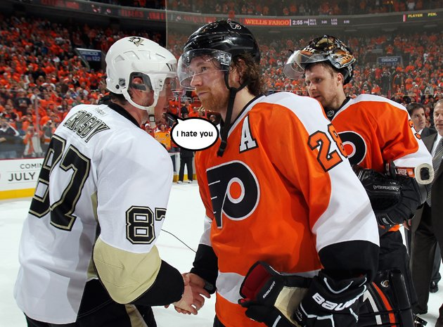 Sidney Crosby didn't try to break Claude Giroux's wrists, but if he did, good