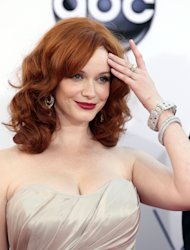 Christina Hendricks arrives at the 64th Primetime Emmy Awards at the Nokia Theatre on Sunday, Sept. 23, 2012, in Los Angeles. (Photo by Matt Sayles/Invision/AP)