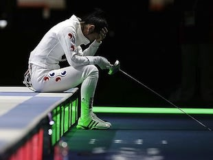 South Korean fencer Shin A Lam during her country's protest &#x002014; AP