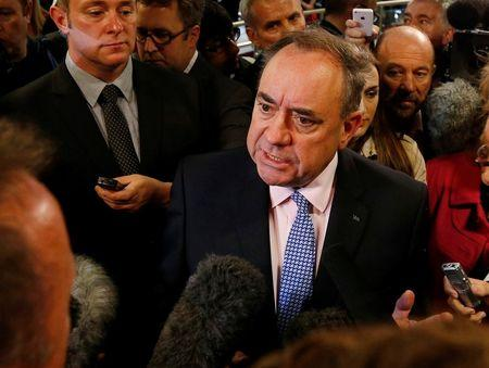 Scottish National Party leader Alex Salmond campaigns at Edinburgh Airport, Scotland