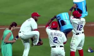 WATCH: Elvis Andrus Makes Sure to Save His Nikes Before Getting His Celebratory Powerade Bath