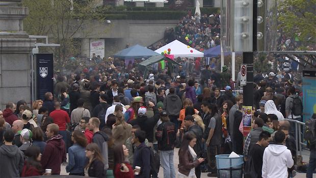 A crowd of thousands drifted in and out of the 4/20 rally in Vancouver, which has morphed into a street fair in recent the years.