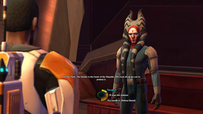 """In this screen shot provided by BioWare, a scene from """"Star Wars: the Old Republic,"""" is shown. Game makers are crafting more sophisticated story lines and creating characters that evolve based on their experiences within a game. It's an attempt to interest new customers and reverse a decline in video game sales as the maturing business fights for people's attention in the face of new devices such as the iPad. (AP Photo/Electronic Arts Inc.)"""