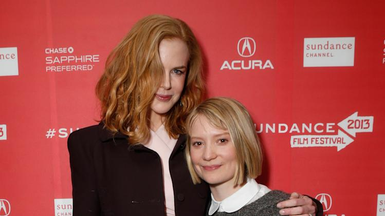 "Actresses Nicole Kidman, left, and Mia Wasikowska attend Fox Searchlight's ""The Stoker"" premiere during Sundance Film Festival on Sunday, Jan. 20, 2012 in Park City, Utah. (Photo by Todd Williamson /Invision for Fox Searchlight/AP Images)"