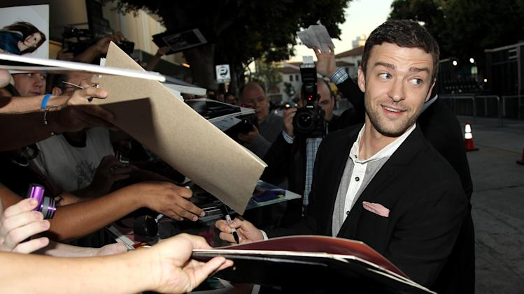 "Cast member Justin Timberlake attends the premiere of ""Trouble With the Curve"" at the Westwood Village Theater on Wednesday, Sept. 19, 2012, in Los Angeles. (Photo by Matt Sayles/Invision/AP)"