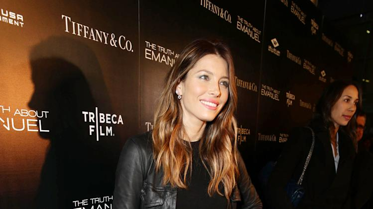 Jessica Biel seen at the TIFFANY & CO. Los Angeles red carpet event for Tribeca Film and Well Go USA's release of THE TRUTH ABOUT EMANUEL, on Wednesday, Dec. 4, 2013 in Los Angeles. (Photo by Eric Charbonneau/Invision for Tribeca Film/AP Images)