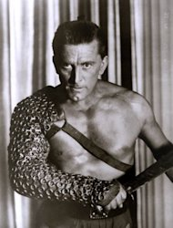 "US actor Kirk Douglas in the 1960 Hollywood film ""Spartacus"". The film was directed by Stanley Kubrick and co-starred Laurence Olivier and Tony Curtis"