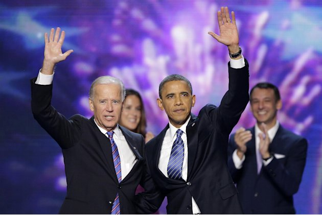 Vice President Joe Biden and President Barack Obama wave to the delegates at the conclusion of Presdident Obama's speech at the Democratic National Convention in Charlotte, N.C., on Thursday, Sept