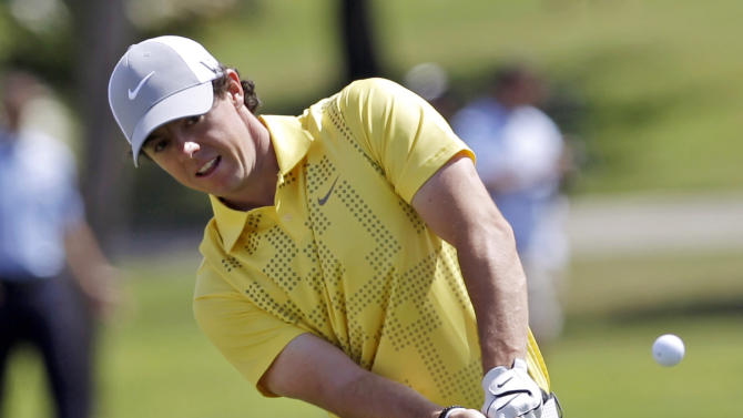 Rory McIlroy, of Northern Ireland, chips to the seventh green during practice at the Cadillac Golf Championship in Doral, Fla., Wednesday, March 6, 2013. (AP Photo/Alan Diaz)