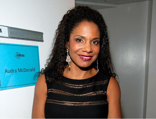 FILE - This Oct. 26, 2013 file photo shows actress Audra McDonald backstage after her concert at the LA Opera in Los Angeles. On Tuesday, March 11, 2014, McDonald auditioned dogs to work with on Broad