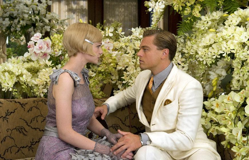 "This film publicity image released by Warner Bros. Pictures shows Carey Mulligan as Daisy Buchanan, left, and Leonardo DiCaprio as Jay Gatsby in a scene from ""The Great Gatsby.""  The film will be shown at the Cannes Film Festival running from May 15 to May 26. (AP Photo/Warner Bros. Pictures, Daniel Smith)"