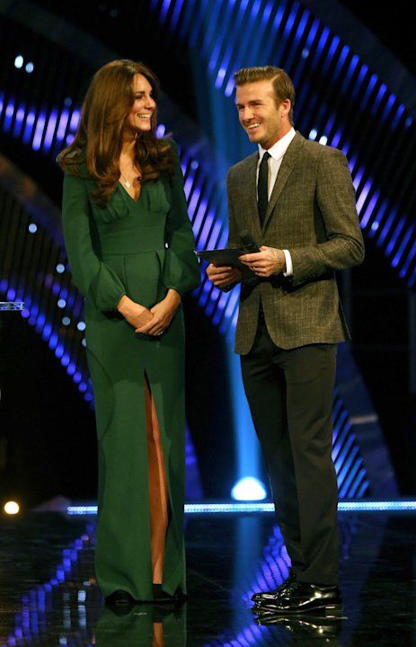 Kate, the Duchess of Cambridge smiles as she chats with soccer player David Beckham during the BBC Sports Personality of the Year Awards 2012 in London, Sunday Dec. 16, 2012. (AP Photo/David Davies, P
