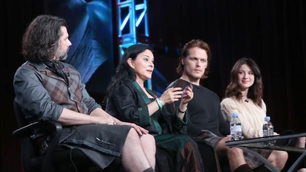 Executive Producer Ronald D. Moore, author Diana Gabaldon, and actors Sam Heughan and Caitriona Balfe speak onstage during the 'Outlander' panel discussion at the Starz portion of the 2014 Winter Television Critics Association tour at the Langham Hotel, Pasadena, on January 10, 2014 -- Getty Images