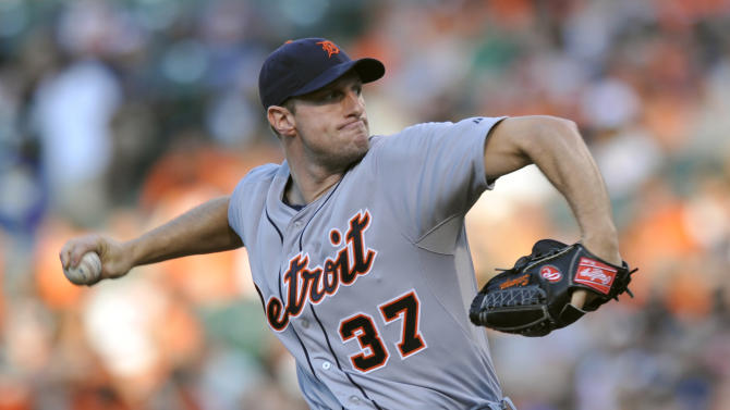 Detroit Tigers pitcher Max Scherzer delivers against the Baltimore Orioles in the first inning of a baseball game on Friday, May 31, 2013, in Baltimore. (AP Photo/Gail Burton)
