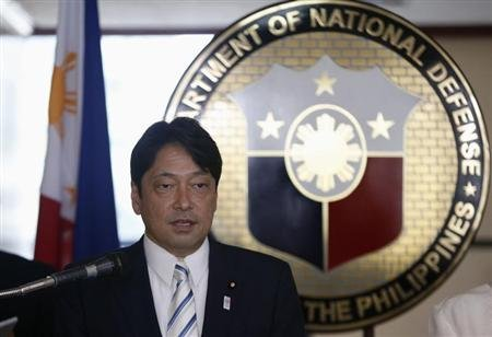 Japan's Defence Minister Itsunori Onodera speaks during a joint news