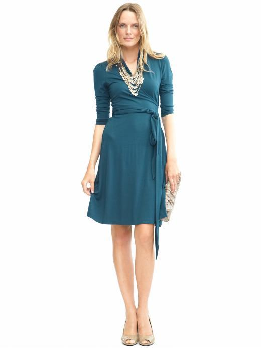 3/4-sleeve faux-wrap dress, $98