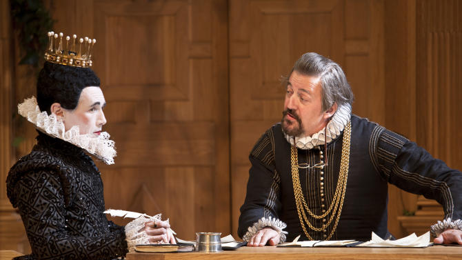 "In this image provided Monday Nov. 19, 2012 by Sonia Friedman Productions, Mark Rylance, as the character Olivia, left, and Stephen Fry, as the character Malvolio, during a dress rehearsal in ""Twelfth Night"" at a London theatre, Nov. 1, 2012. Mark Rylance's latest London performances are hot tickets, and not just because he is one of Britain's leading Shakespearean actors. It's a chance to see him in two wildly contrasting roles, the scheming usurper dispatching everyone who stands between him and the throne in ""Richard III,"" and the aloof countess Olivia, blindsided by love, in the boisterous comedy ""Twelfth Night."" (AP Photo/Simon Annand, Sonia Friedman Productions)"