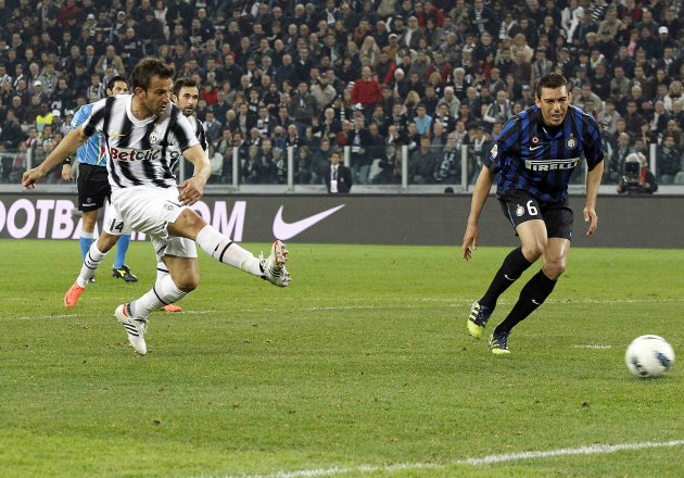 Juventus' Del Piero shoots and score against Inter Milan during their Serie A soccer match  in Turin