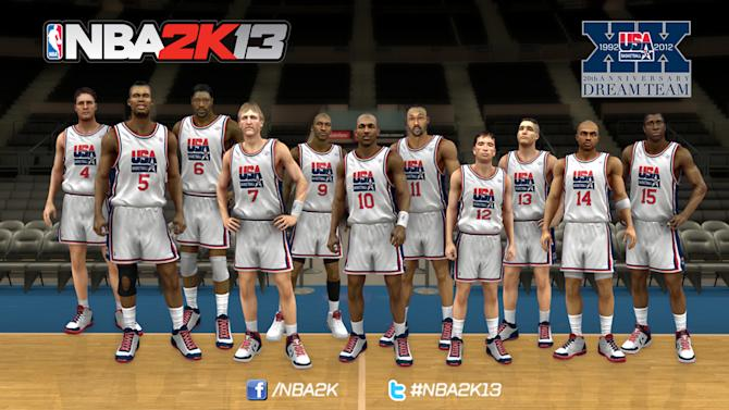"""In this undated video generated image released by Take-Two Interactive Software Inc./2K Sports, a computer-generated screen shot from the new upcoming """"NBA 2K13"""" video game shows the likeness of members of the 1992 gold medal Dream Team. With USA Basketball and 2K Sports forming a partnership, fans can see what happens when the 1992 Dream Team goes up against this year's Olympic gold medal winner once NBA 2K13 hits the shelves this fall. (AP Photo/Take-Two Interactive Software Inc./2K Sports)"""