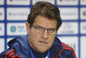 Russia's national team head coach Capello speaks during a news conference ahead of their 2014 World Cup qualifying soccer match against Azerbaijan in Baku