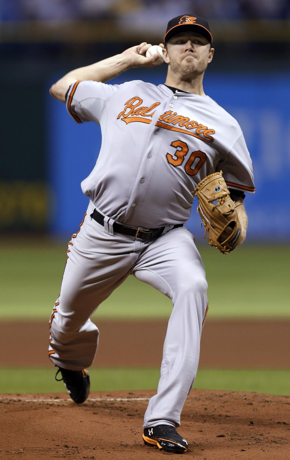 Baltimore Orioles starting pitcher Chris Tillman delivers to the Tampa Bay Rays during the first inning of a baseball game Wednesday, Oct. 3, 2012, in St. Petersburg, Fla. (AP Photo/Chris O'Meara)
