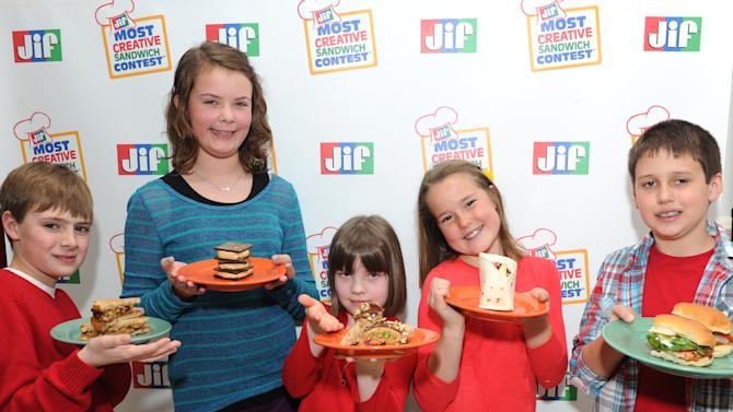 IMAGE DISTRIBUTED FOR THE J.M. SMUCKER COMPANY - The five event finalists of the 11th Annual Jif Most Creative Sandwich Contest at the New York City winner announcement on Thursday, March 21, 2013. Featured from left to right: Matthew R., age 10, from Edwardsville, Ill.; Ansley P., age 11, from Hoover, Ala.; Kathryn W., age 7, from Branchville, N.J.; Julia T., age 9, from Mission Viejo, Calif. and Jacob C., age 9, from Morganton, N.C.  (Photo by Diane Bondareff/Invision for The J.M. Smucker Company/AP Images)