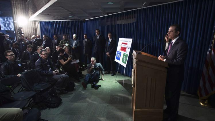 Preet Bharara, the U.S. Attorney for the Southern District of New York talks during a news conference in New York