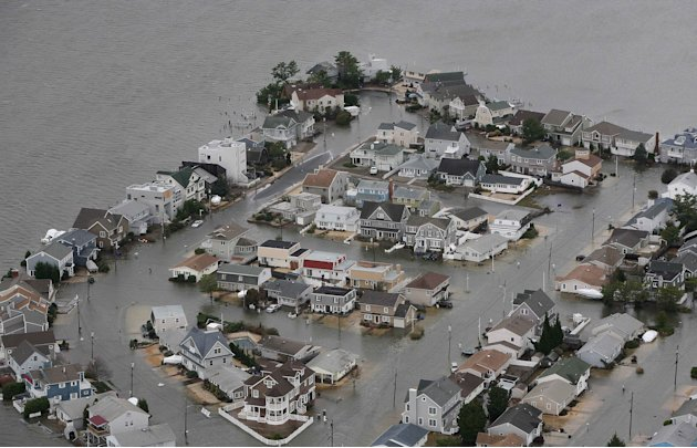 This photo made available by the New Jersey Governor's Office shows flooding on the bay side of Seaside, N.J. on Tuesday, Oct. 30, 2012 after superstorm Sandy made landfall in New Jersey Monday evenin