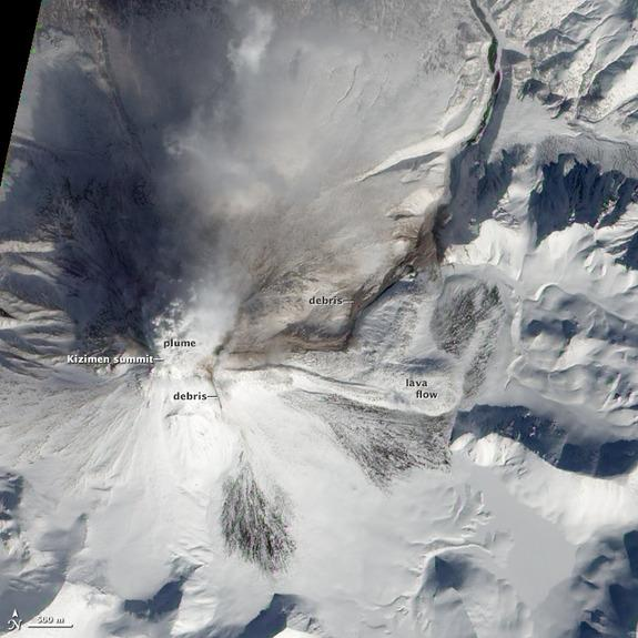 Aftermath of Volcano Eruption Seen from Space