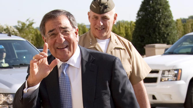 Leon Panetta arrives at the Pentagon before being sworn in as Defense Secretary of Defense, Friday, July 1, 2011.  (AP Photo/Evan Vucci)