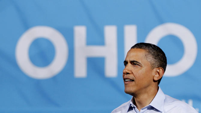President Barack Obama arrives to speak at a campaign rally at The Ohio State University, Saturday, May 5, 2012 in Columbus, Ohio. (AP Photo/Haraz N. Ghanbari)