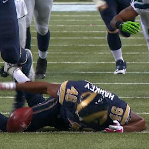 Rams' Mason fumbles, recovered by Harkey