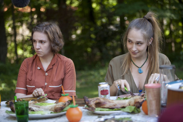 "Lena Dunham and Jemima Kirke in the ""Girls"" Season 2 episode, ""Video Games."""