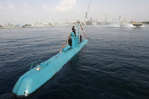 An Iranian Qadir light submarine is seen in Gulf waters in the southern port of Bandar Abbas on November 28, 2012. Iran on Tuesday launched naval manoeuvres in the Gulf, and announced plans for another exercise in the strategic Strait of Hormuz later this week, media reports said