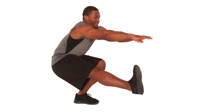 Squats With Knee Up