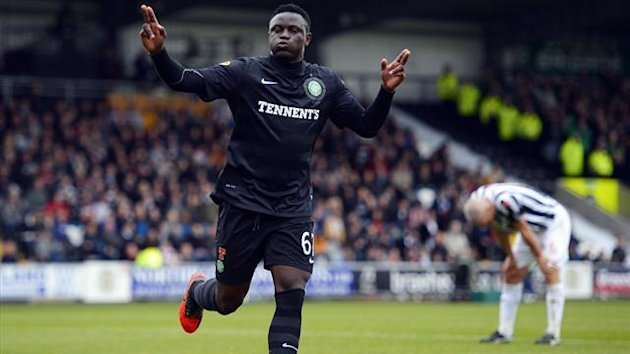 Celtic's Victor Wanyama celebrates his goal against St. Mirren during their Scottish Premier League soccer match at the St. Mirren Stadium in Paisley
