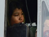 Rimsha Masih, a Christian girl accused of blasphemy, sits in a helicopter after her release from jail in Rawalpindi on September 8. Rimsha was released from prison after a court accepted her bail application
