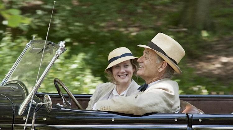 "This film image released by Focus Features shows, from left, Laura Linney as Daisy, and Bill Murray as Franklin D. Roosevelt in a scene from ""Hyde Park on Hudson."" (AP Photo/Focus Features, Nicola Dove)"