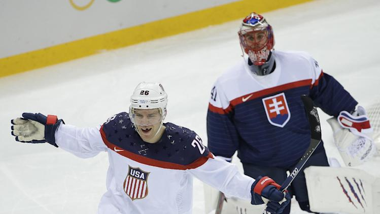 US crushes Slovakia 7-1 in men's Olympic hockey
