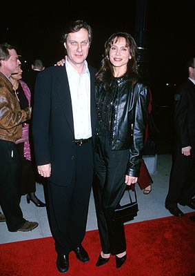 Lasse Hallstrom and Lena Olin at the Beverly Hills premiere of Miramax Films' Chocolat