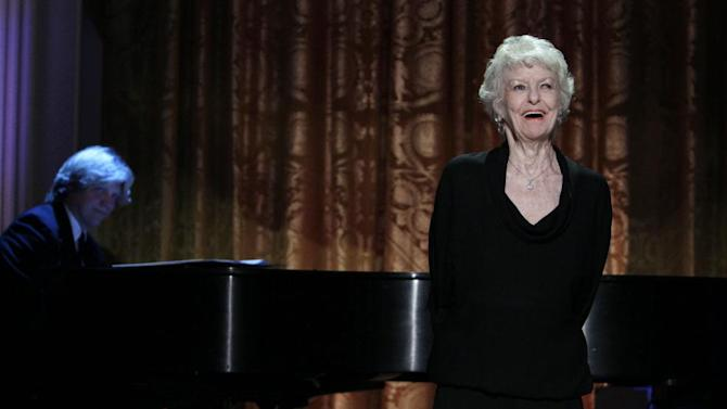 FILE - In this July 19, 2010 file photo shows actress Elaine Stritch performing at a White House Music Series event saluting Broadway in the East Room of the White House in Washington. Stritch died Thursday, July 17, 2014 at her home in Birmingham, Mich. She was 89. (AP Photo/Carolyn Kaster, File)