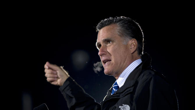 Republican presidential candidate, former Massachusetts Gov. Mitt Romney speaks during a campaign rally on Tuesday, Oct. 9, 2012 in Cuyahoga Falls, Ohio.  (AP Photo/ Evan Vucci)