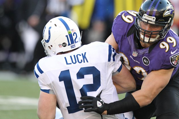 Indianapolis Colts quarterback Andrew Luck (12) sacked by Baltimore Ravens linebacker Paul Kruger (99) during the AFC Wild Card playoff game at M&T Bank Stadium