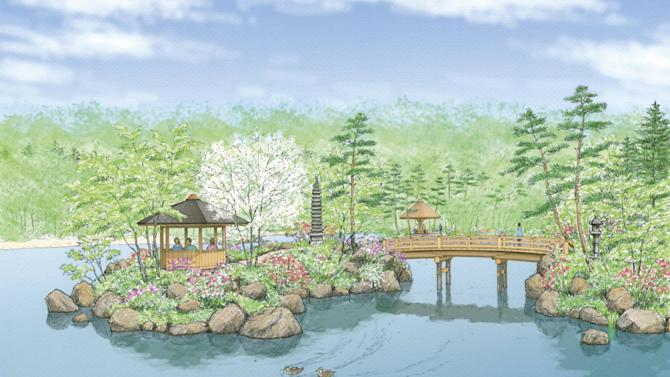 This undated artist rendering released by Kurisu International shows the main island at a future Japanese Garden coming to the Frederik Meijer Gardens & Sculpture Park in Grand Rapids, Mich.  The park is planning the $22 million garden on its West Michigan grounds that could open in 2015 or 2016. (AP Photo/Kurisu International)