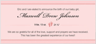 The birth announcement